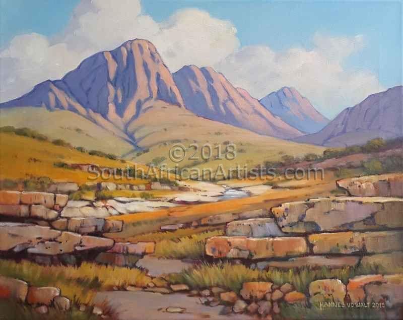 Mountain Scene With Rocky Ridges Mountain Scene Scene Rock Painting Flowers