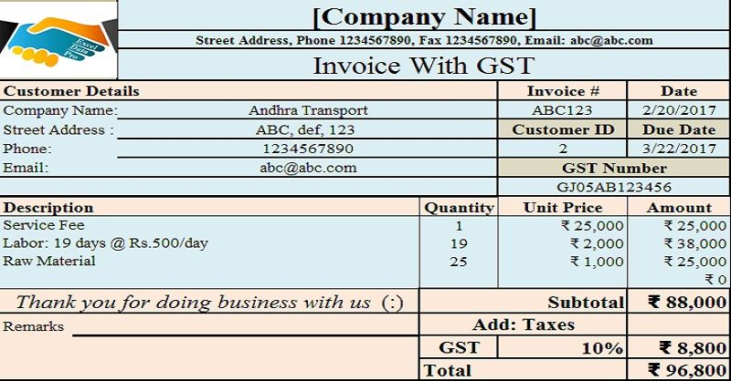 Download GST Invoice Format for Service Providers in Excel Invoice - new letter format for reissue of refund cheque