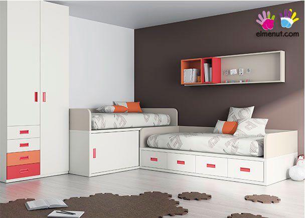 Habitaci n infantil habitaci n con 2 camas compacta y - Habitacion pequena dos camas ...