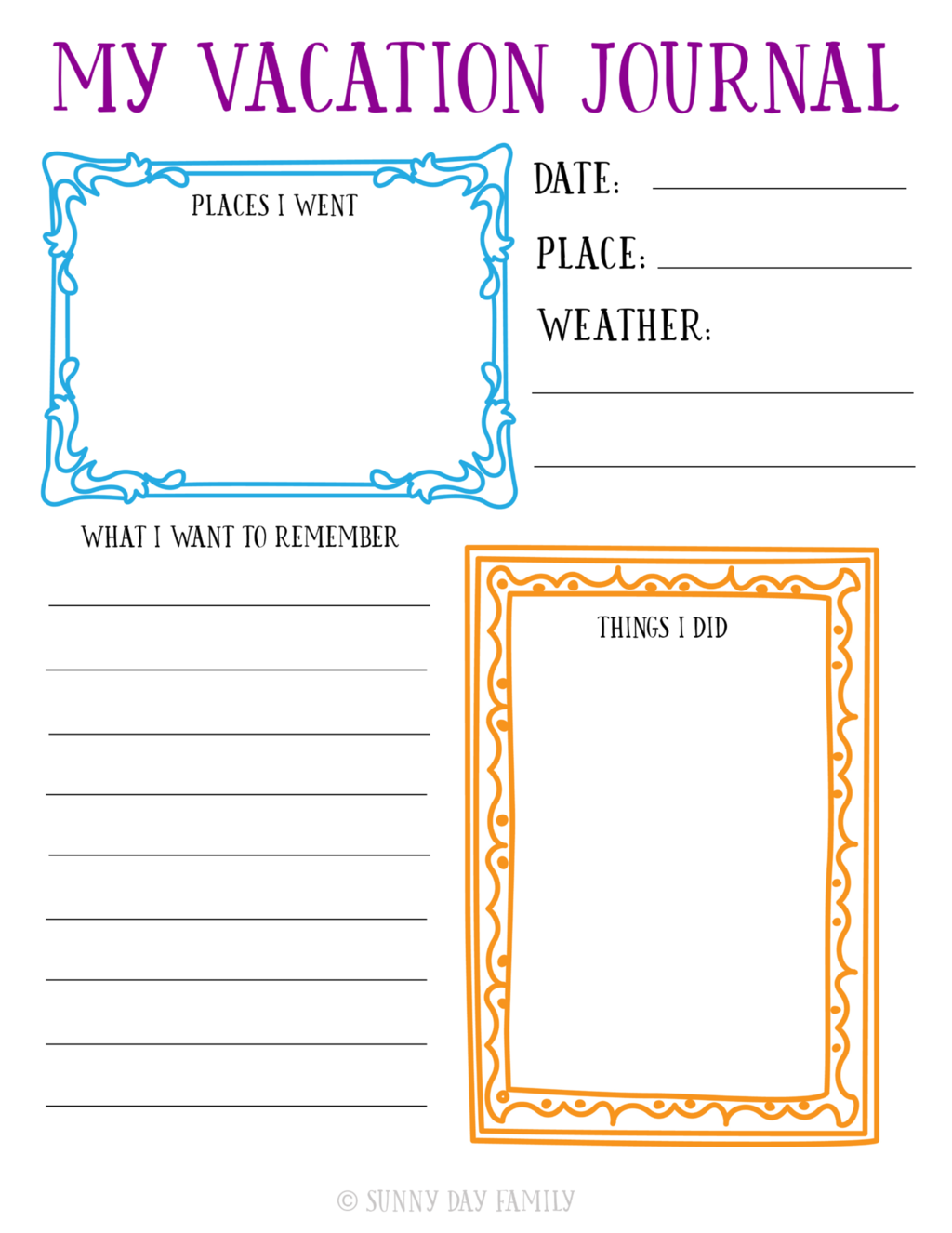 Free Printable Travel Journal For Kids