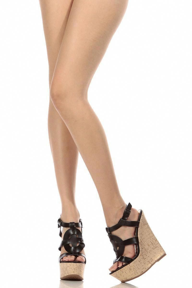 1e1212f2e Black Royal Faux Leather Sling Back Cork Wedges   Cicihot Wedges Shoes  Store Wedge Shoes