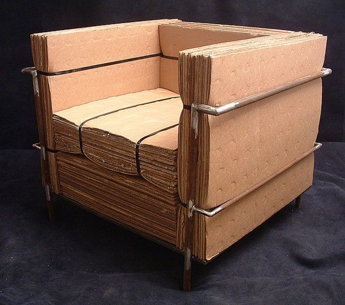 furniture from recycled materials. completely made of recycled materials used cardboard nylon strapping and rusted forgotten steel welded for the frame by nick michelin furniture from i