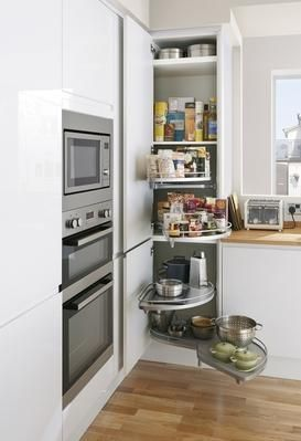 Extra Tall Corner Larder Tower Unit With Full Extension Storage Accessories