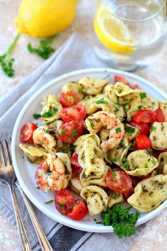 Easy Pesto Shrimp Tortellini Salad (20 Minutes!) - Kim's Cravings