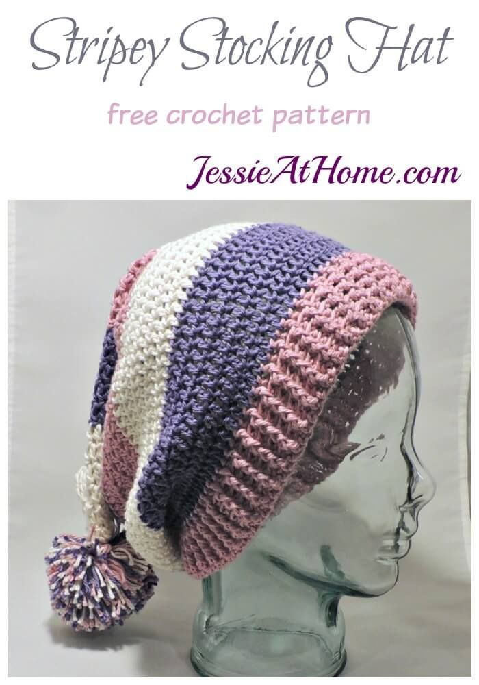 Stripey Stocking Hat Free Crochet Pattern By Jessie At Home