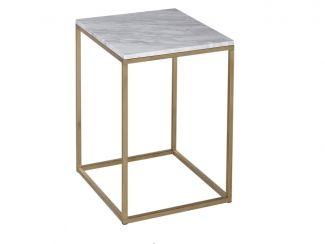 Mesa cuadrada Side - MÁRMOL Kensal con base de latón - Mesa auxiliar cuadrada con tapa de mármol y sujetadores de satén
