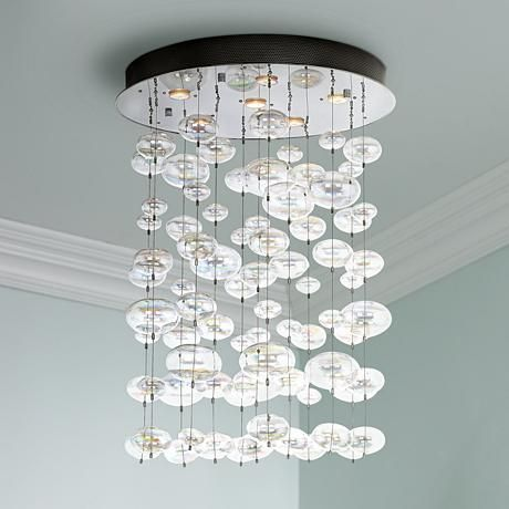 Possini euro floating bubble 6 light round ceiling fixture for Round bathroom light fixtures