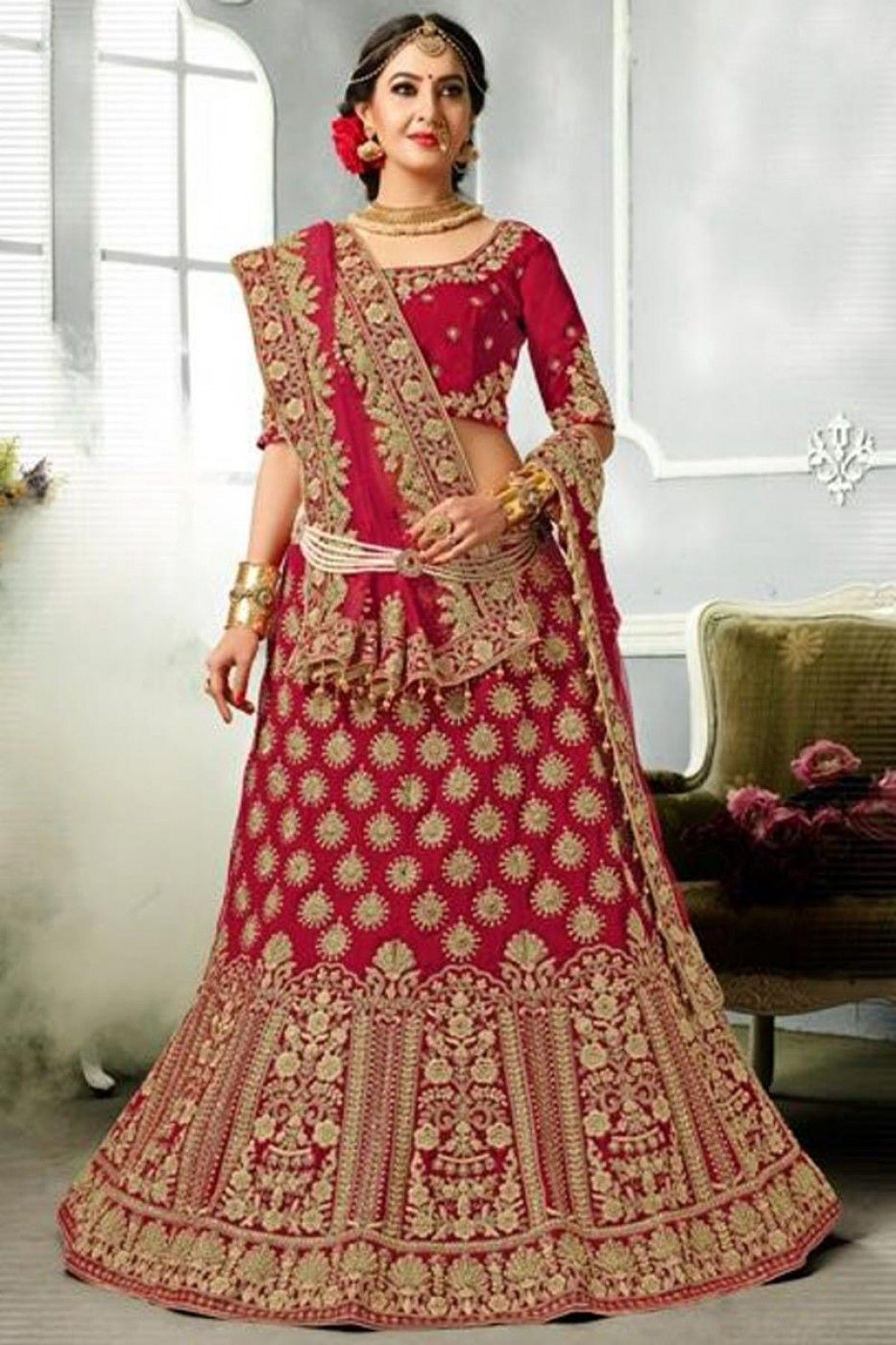 6b35b03a46 Red Velvet Function Wear 3 Piece Lehenga With Embroidery Work And Party Wear  Blouse