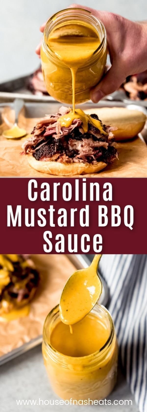 Carolina Mustard BBQ Sauce (aka South Carolina Gold BBQ Sauce) is an easy recipe for the tangy, slightly sweet sauce that is especially popular in South Carolina barbecue.  It is perfect drizzled over smoked pork, chicken, burgers, ribs - you name it! #bbq #sauce #barbecue #mustard #vinegar #easy #homemade #SouthCarolina #Carolina #bbqsauce #recipe #grilling #meat #gold #Easy Recipes casserole Carolina Mustard BBQ Sauce