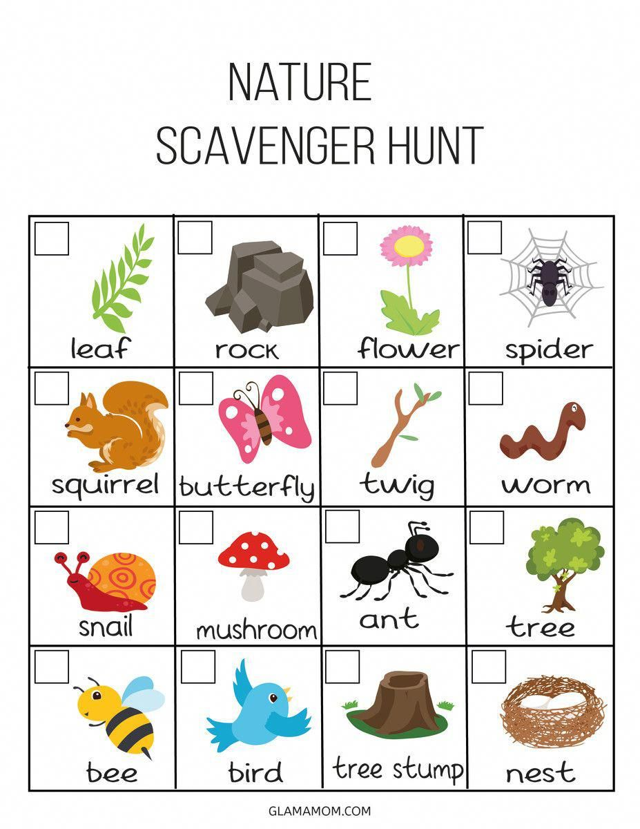 Kids Outdoor Scavenger Hunt - Glamamom   Outdoor scavenger ...