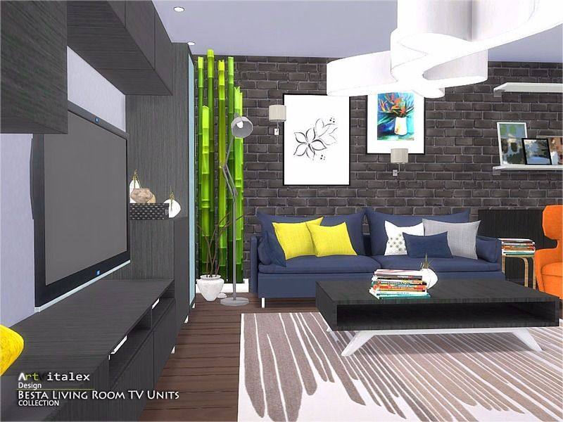 Besta Living Room TV Units Found In TSR Category U0027Sims 4 Living Room Sets