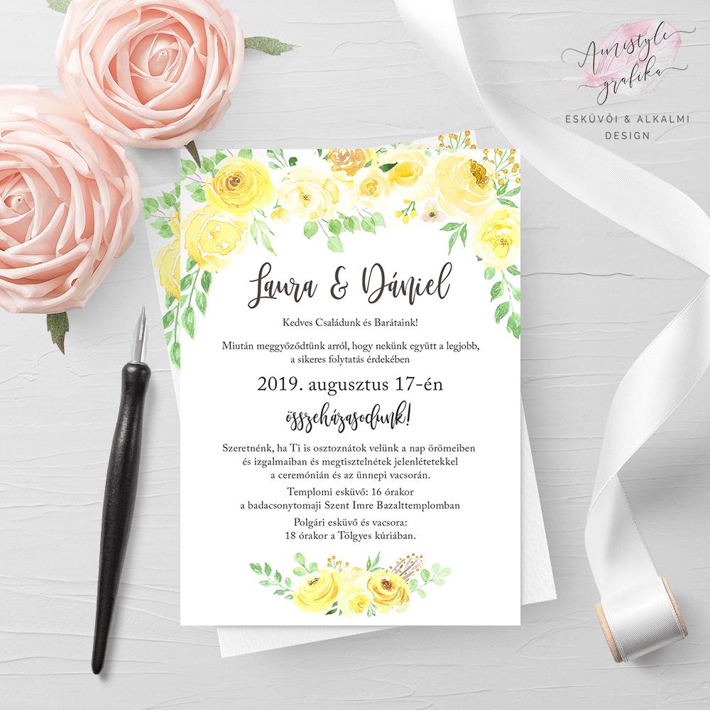 decc62a904 Sárga Rózsás Akvarell Esküvői Meghívó | Amistyle Grafika in 2019 ...