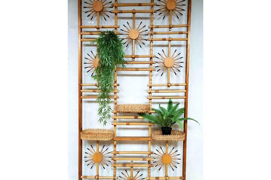 Vintage Midcentury Modern Bamboo Room Divider Wall Unit Folding Screen Photo 4 Room Divider Walls Bamboo Room Divider Divider Wall