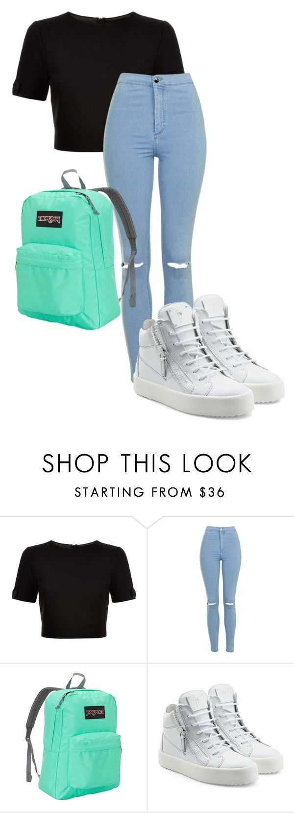 """""""Untitled #430"""" by selena-cage ❤ liked on Polyvore featuring Ted Baker, Topshop, JanSport and Giuseppe Zanotti"""