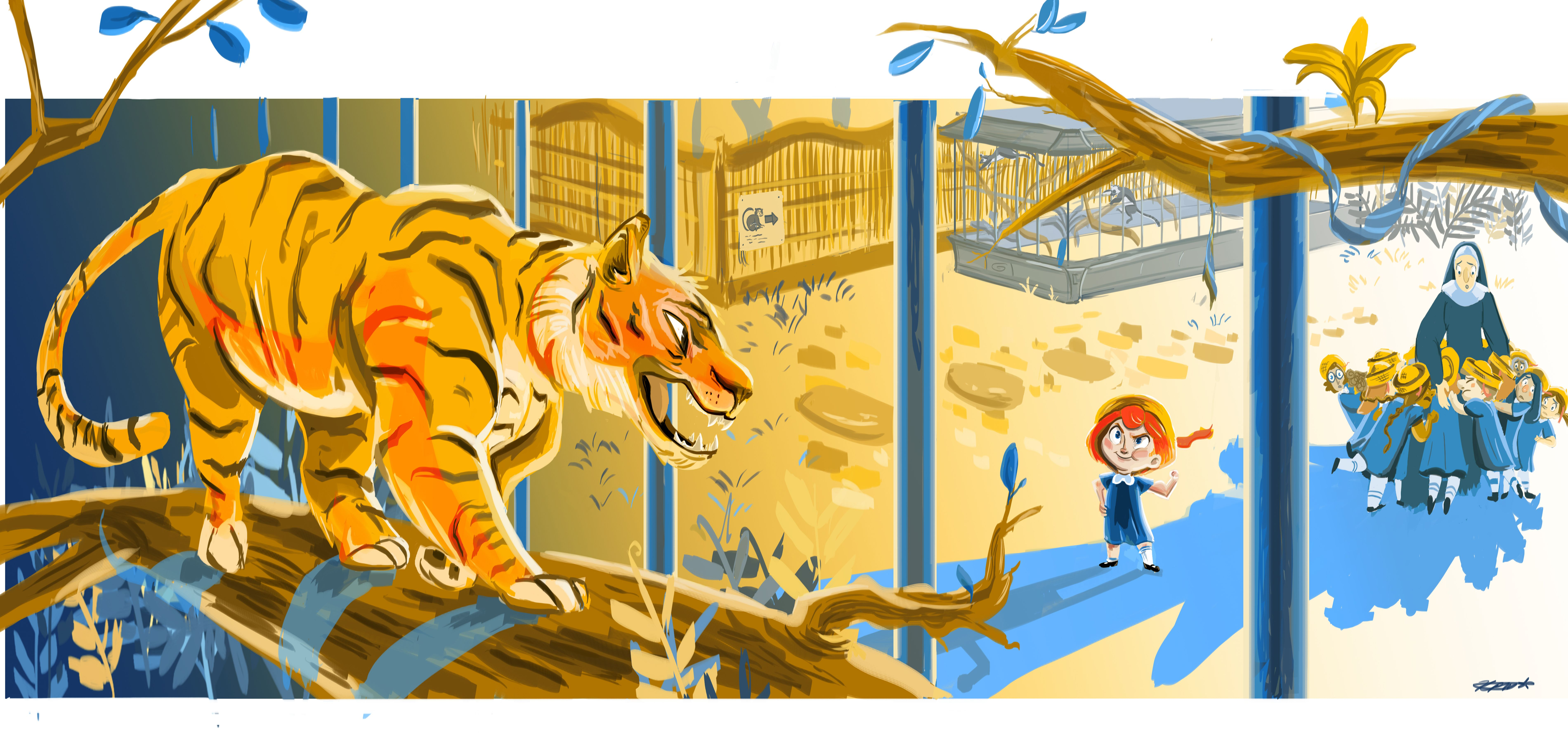 To the tiger in the zoo, Madeline just said Poo Poo. Kristen Maslanka Visual Development http://buttermilkdoodles.tumblr.com/
