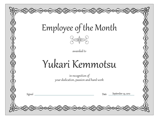 Certificate Employee Of The Month Gray Chain Design  Good