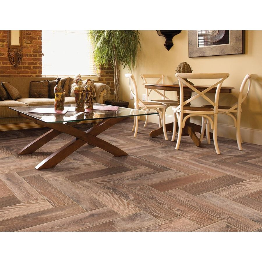 Shop Style Selections Natural Timber Cinnamon Glazed Porcelain Indoor/Outdoor Floor Tile (Common: 6-in x 24-in; Actual: 5.79-in x 23.7-in) at Lowes.com