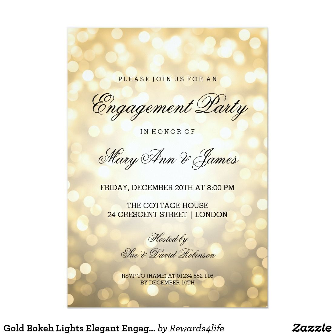 Gold Bokeh Lights Elegant Engagement Party Card | Engagement and ...