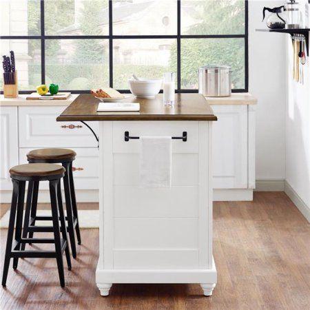 Dorel Living Kelsey Kitchen Island With 2 Stools White  Walmart Captivating Walmart Kitchen Stools Design Ideas