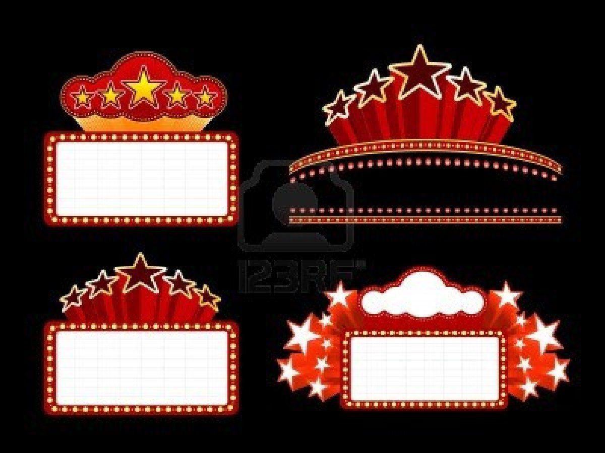 hight resolution of retro illuminated movie marquee blank sign stock photo