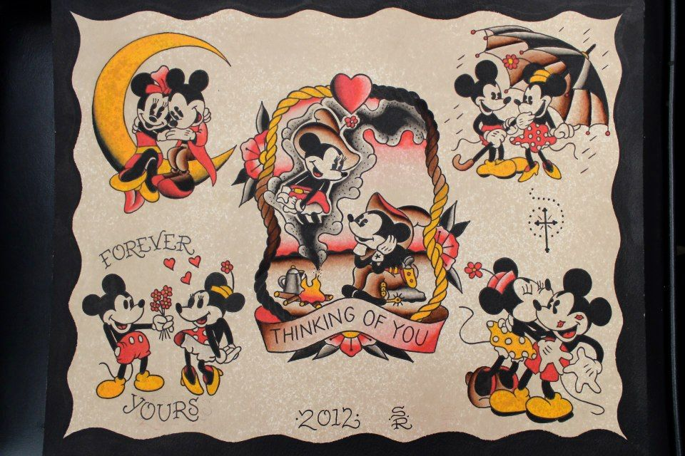 Mickey Mouse Tattoo Flash By Steve Rieck Las Vegas Mickey Mouse Tattoo Mickey Tattoo Disney Tattoos