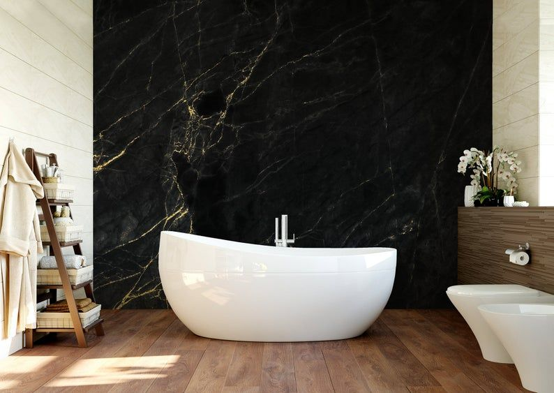 Black Marble Wallpaper With Cracks Self Adhesive Peel Etsy Marble Wallpaper Gold Wallpaper How To Install Wallpaper