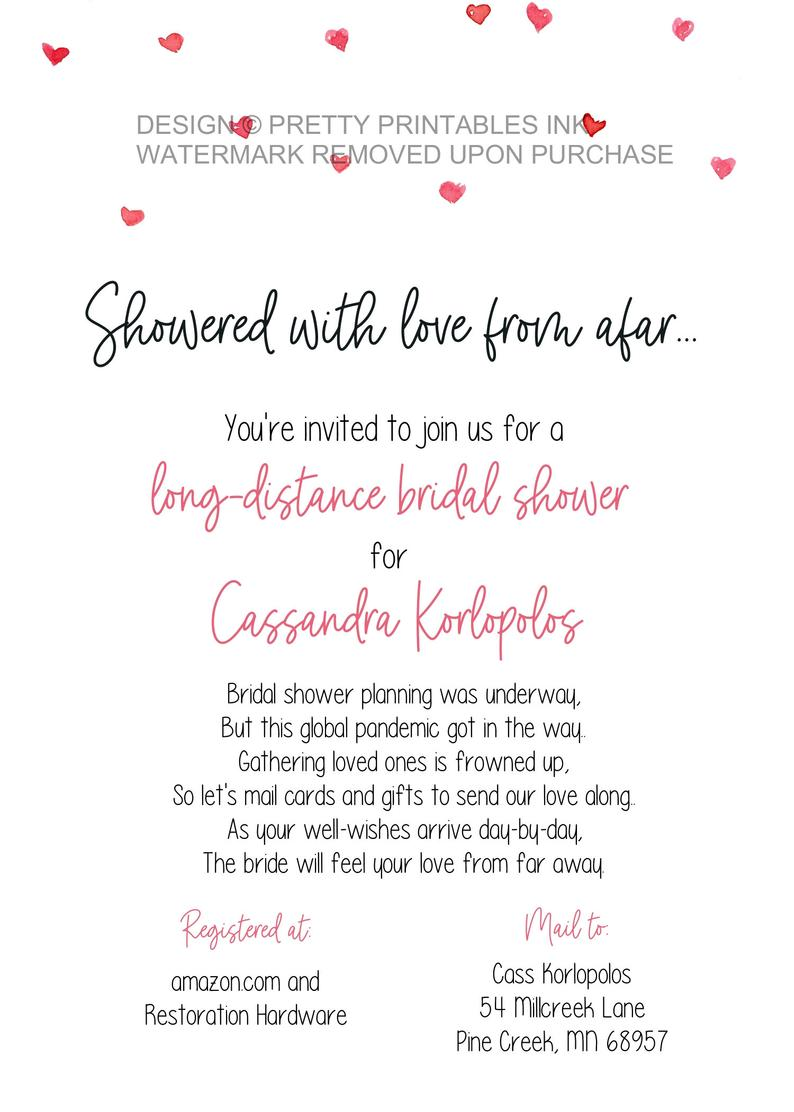 Shower By Mail Invitation Long Distance Shower By Mail Invitation Bridal Shower By Mail Invite Virtual Bridal Shower Invite Unique Bridal Shower Invites Bridal Shower Invitations Printable Bridal Shower Planning
