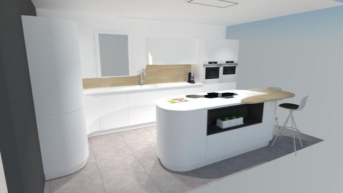 Une cuisine futuriste à découvrir absolument avec -Plaque induction - Table De Cuisine Avec Plan De Travail