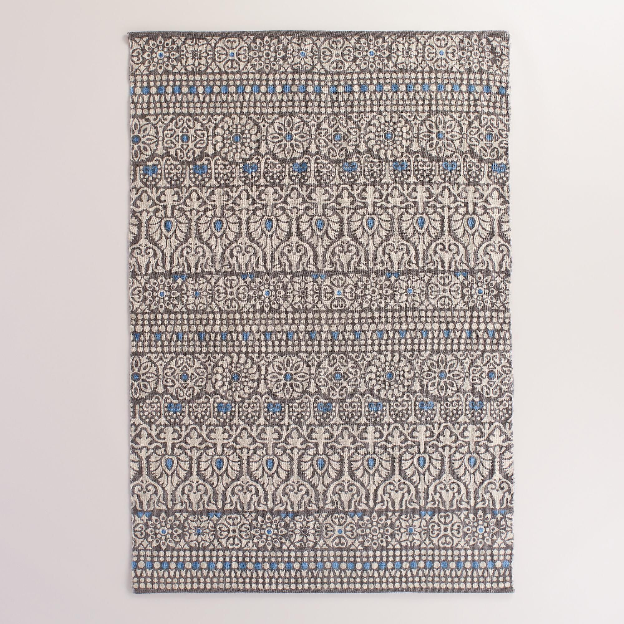 4 X6 Floral And Gray Striped Indoor Outdoor Rug