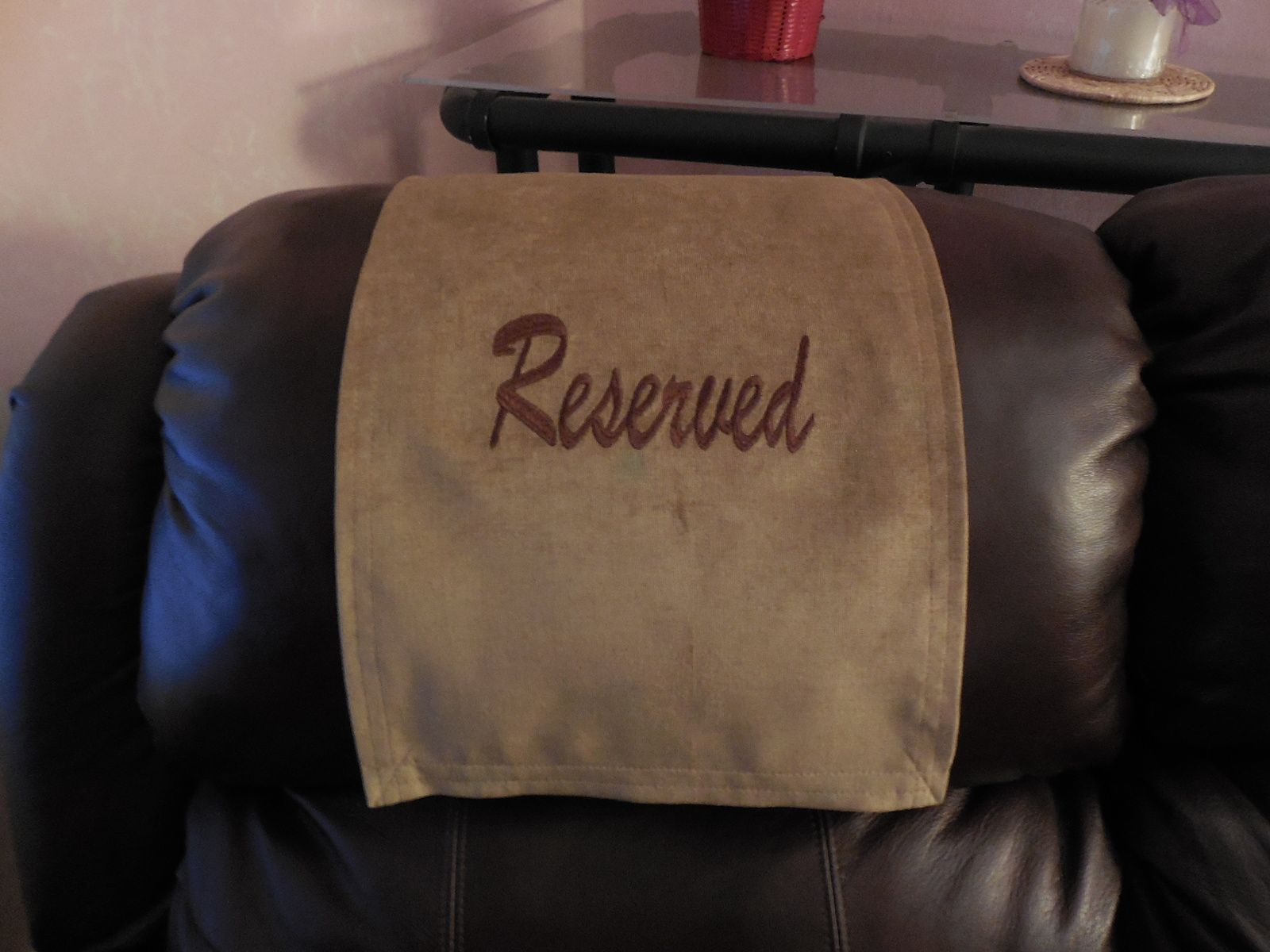 "Recliner Headrest Cover Machine embroidered ""Reserved"" Custom"