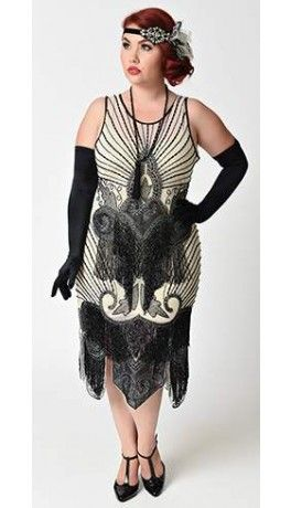 717ca048ae2 Unique Vintage Plus Size Ivory   Black Beaded Mesh Atlantic Fringe Flapper  Dress