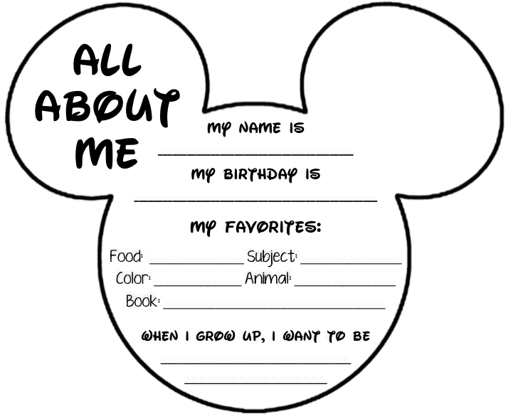 Disney Themed All About Me Page - Shenanigans In Second Grade Disney  Classroom, Disney Themed Classroom, Classroom Themes