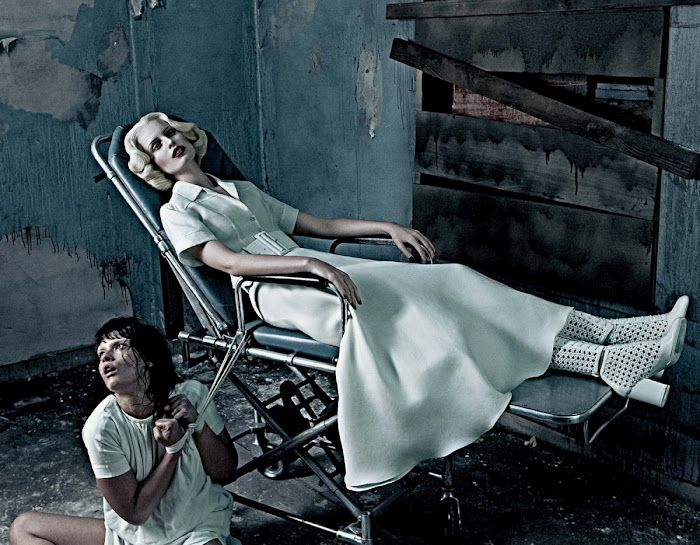 INSTITUTIONAL WHITE -  Photographer: Steven Klein  Magazine: Interview  Model: Crystal Renn, Karolina Kurkova