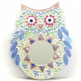 KIT - Wooly Owl - No cutting need...Take a look into this Wooly Owl's tummy and you will see the world through a magic mirror! Designed by Caroline of Roos Kleurig this kit contains everything you need to make a perfect decoration for a children's room. Kit contains, MDF base, tiles, decorations, glue, grout and photo instructions. No tools needed. #mosaic