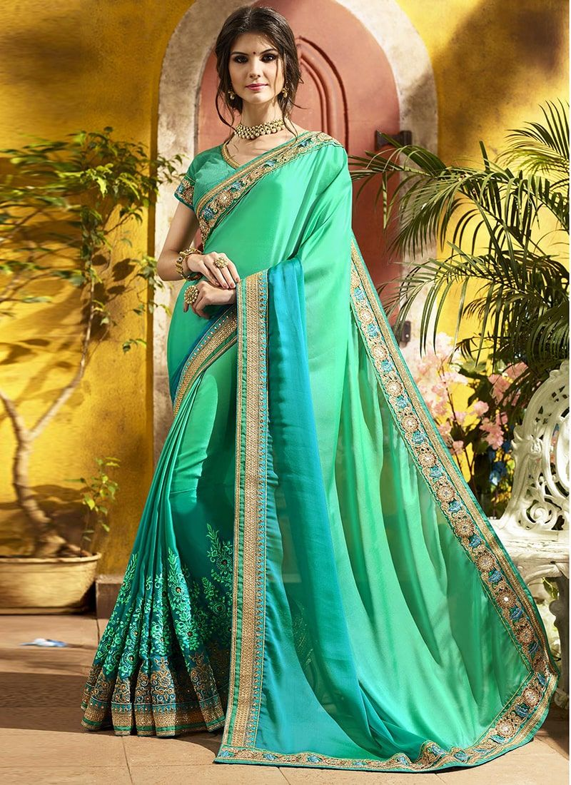 5e7f34dc31 Georgette Green Shaded Embroidered Designer Saree | moda India in ...