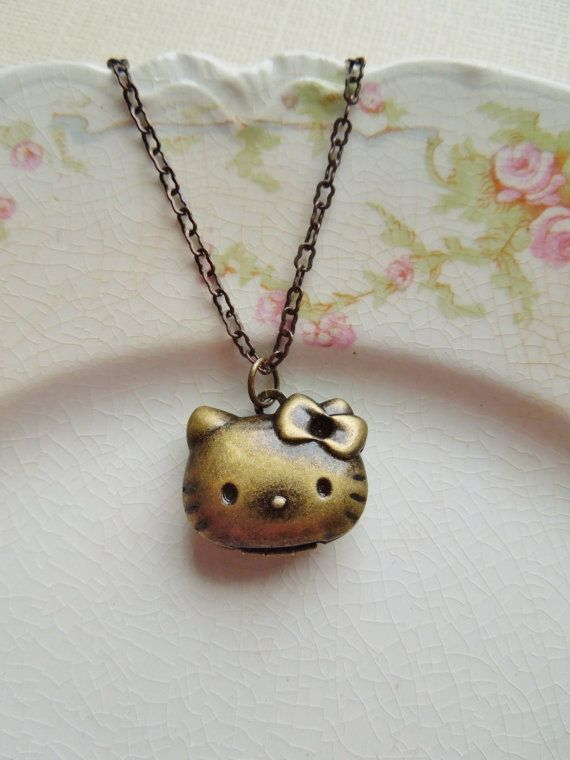 d04656d6a Rare Vintage Hello Kitty Locket Necklace and Earrings Set - Antique Brass -  Post Earrings and Locket - LIMITED QUANTITIES