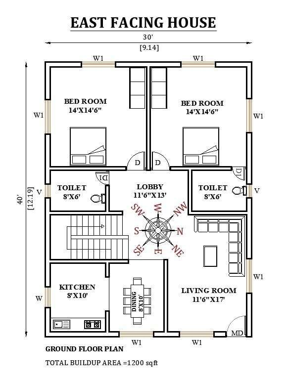 30'x40' East facing house plan is given as per vastu shastra in this Autocad drawing file Download now