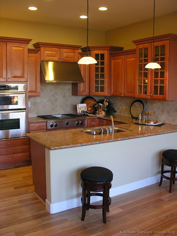 Pictures Of Kitchens Traditional Medium Wood Cabinets Golden Brown Staggered Kitchen Cabinets Brown Kitchens Kitchen Flooring