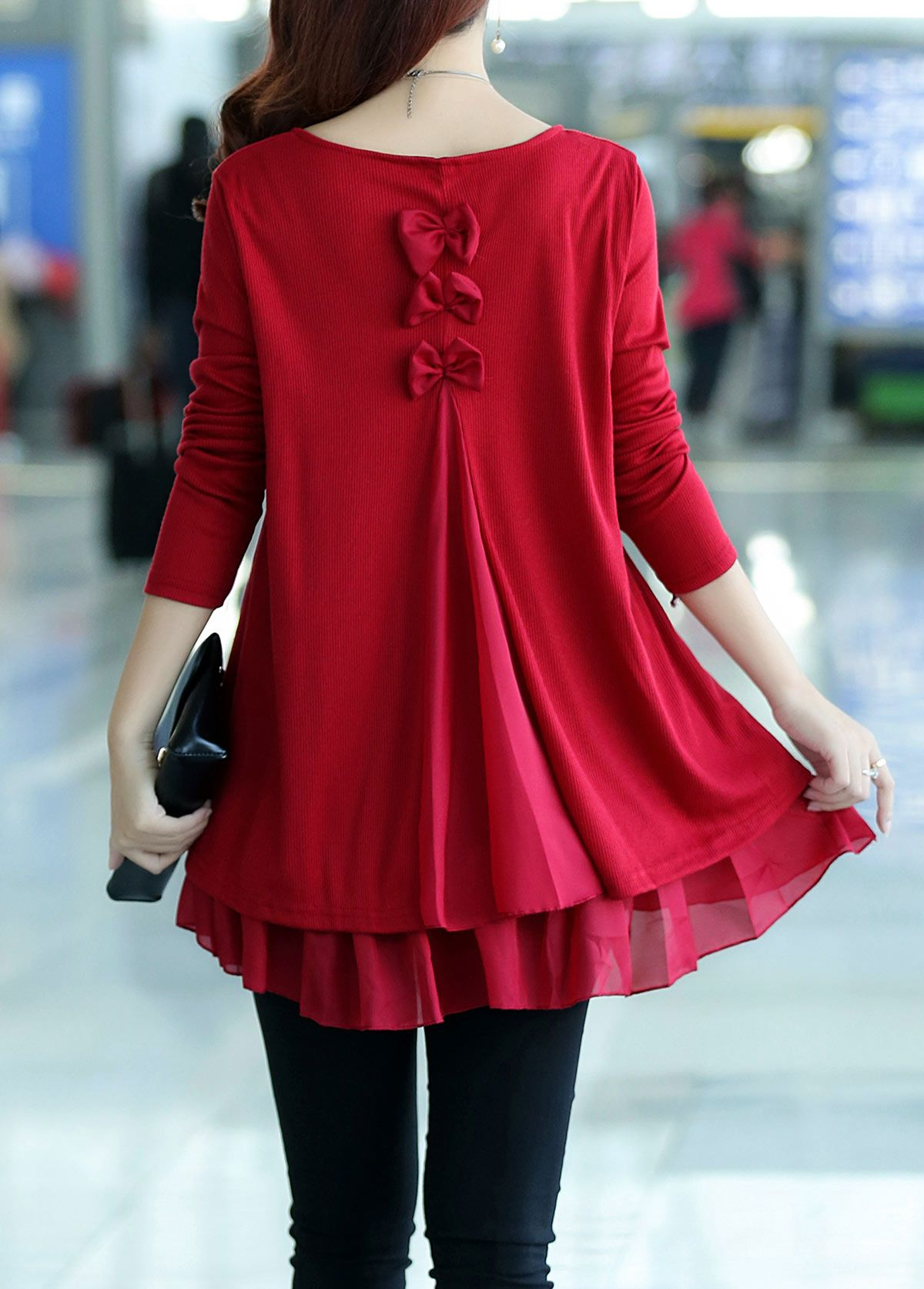 Bowknot Decorated Long Sleeve Chiffon Panel Sweater | Clothes and ...