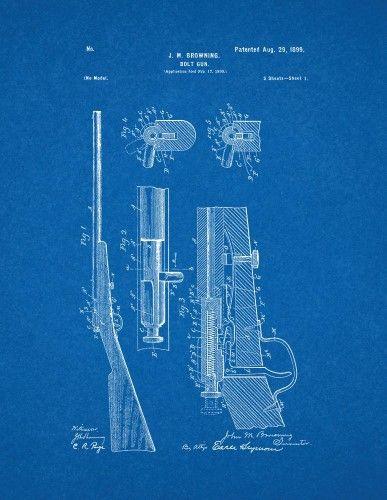 Winchester 1900 bolt action single shot 22 Rifle Patent Print Art - new blueprint gun art