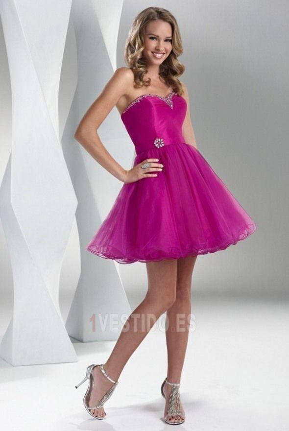 Vestido+de+fiesta+Corte+princesa+Sin+mangas+Escote+Corazón+Hinchado+ ...