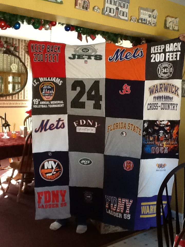 T- Shirt Blanket~ This blanket was a gift for nephew, created from tee-shirts that he no longer fit into but represent parts of his life. High School Track, Sports Teams, etc.