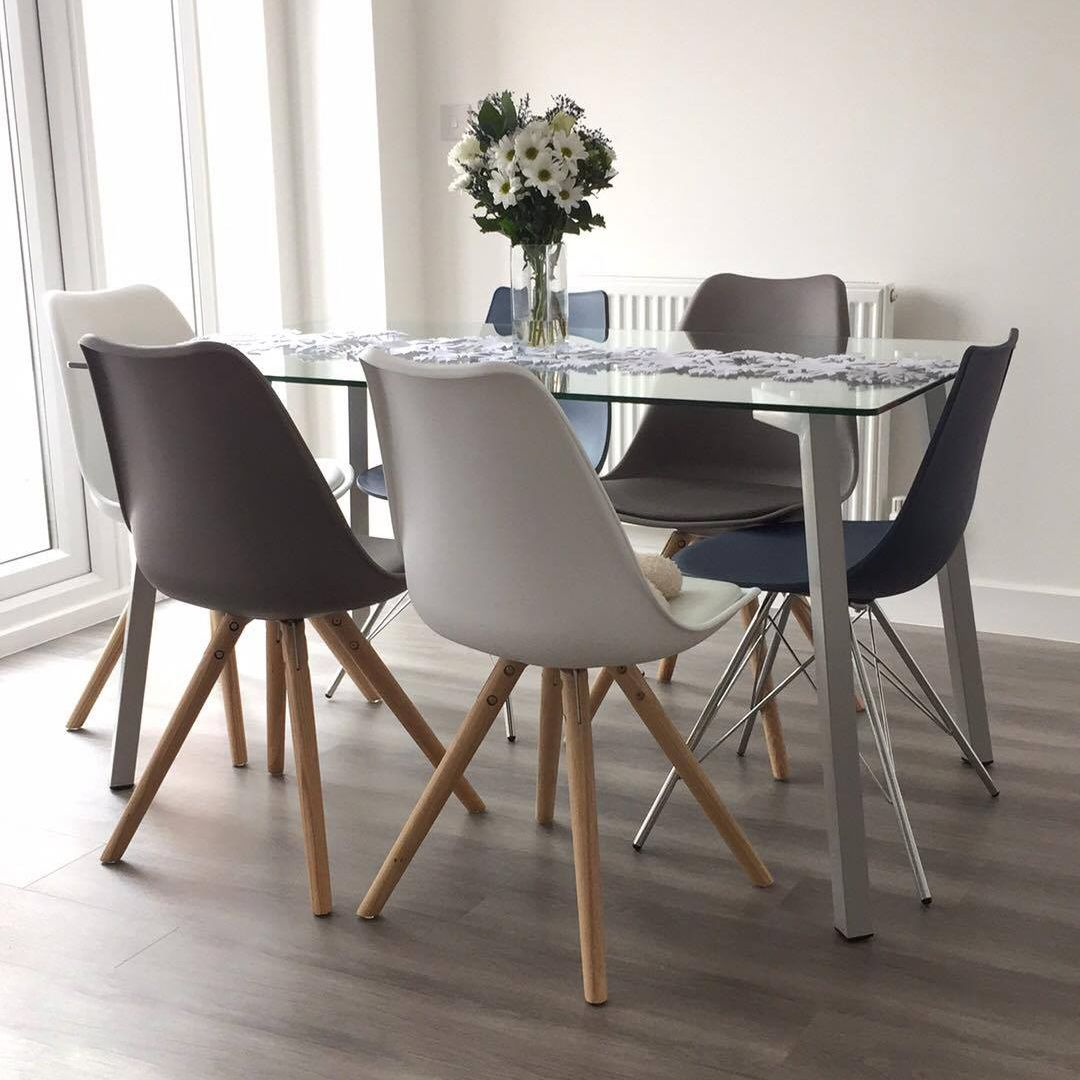 Profile And Ida 4 To 6 Seater Glass And Grey Dining Set