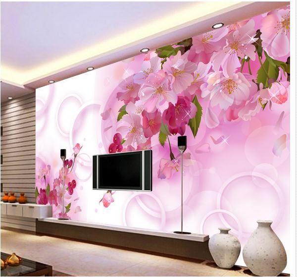 pas cher papel de parede rose fleur 3d mur vid o design l gant fleurs 3d papier peint livraison. Black Bedroom Furniture Sets. Home Design Ideas
