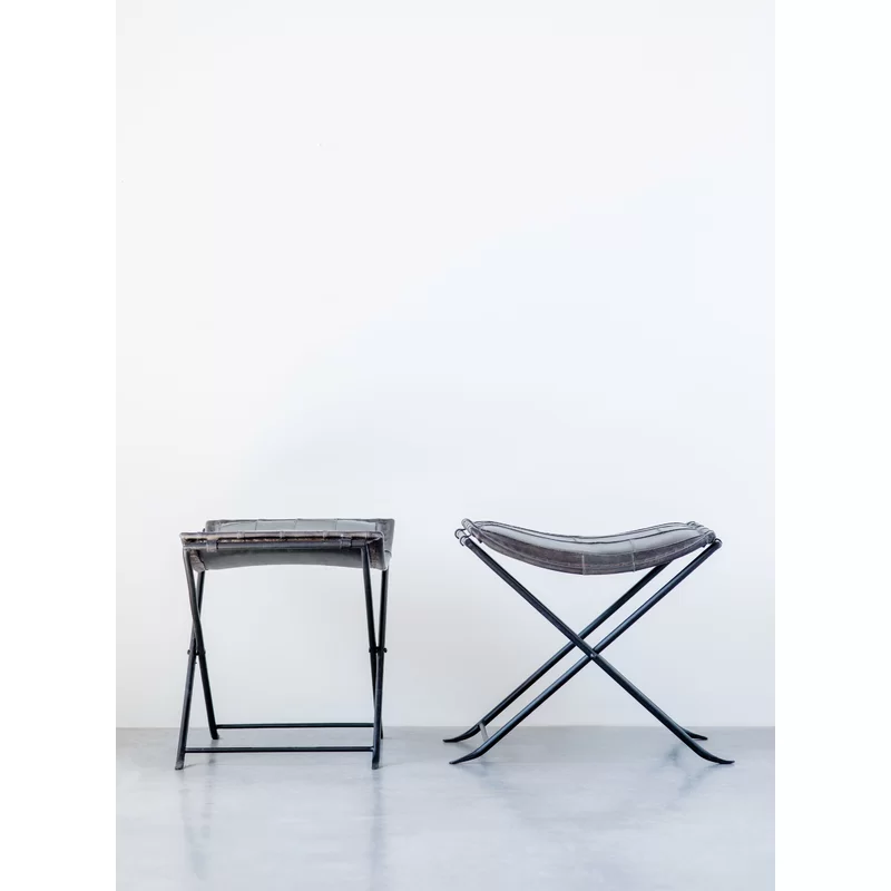 Remarkable Karlin Collapsible Leather Metal Vanity Stool Design Alphanode Cool Chair Designs And Ideas Alphanodeonline