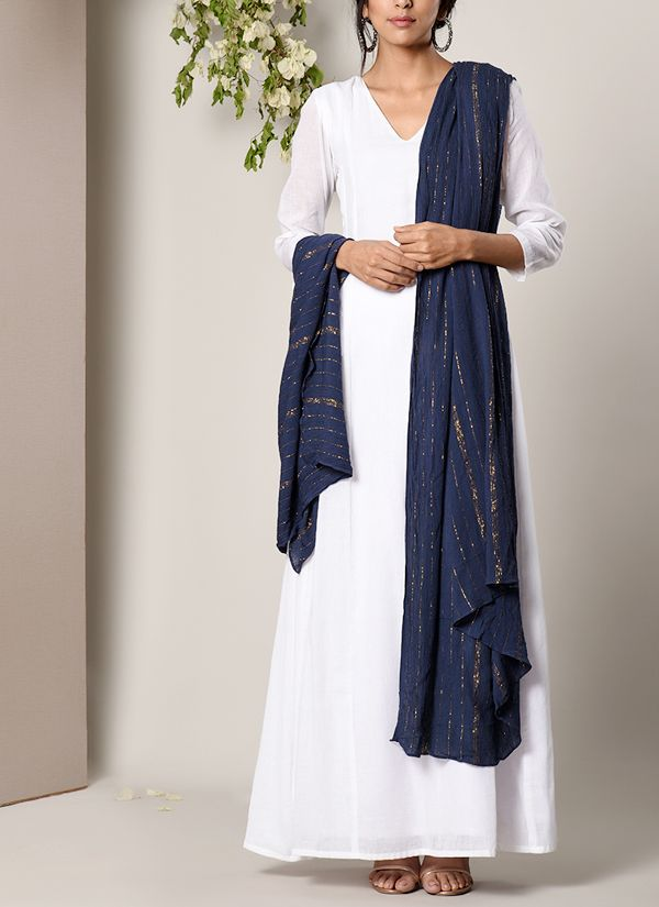 bfc1800d451 White Dress and Blue Golden Crinkle Dupatta in 2019