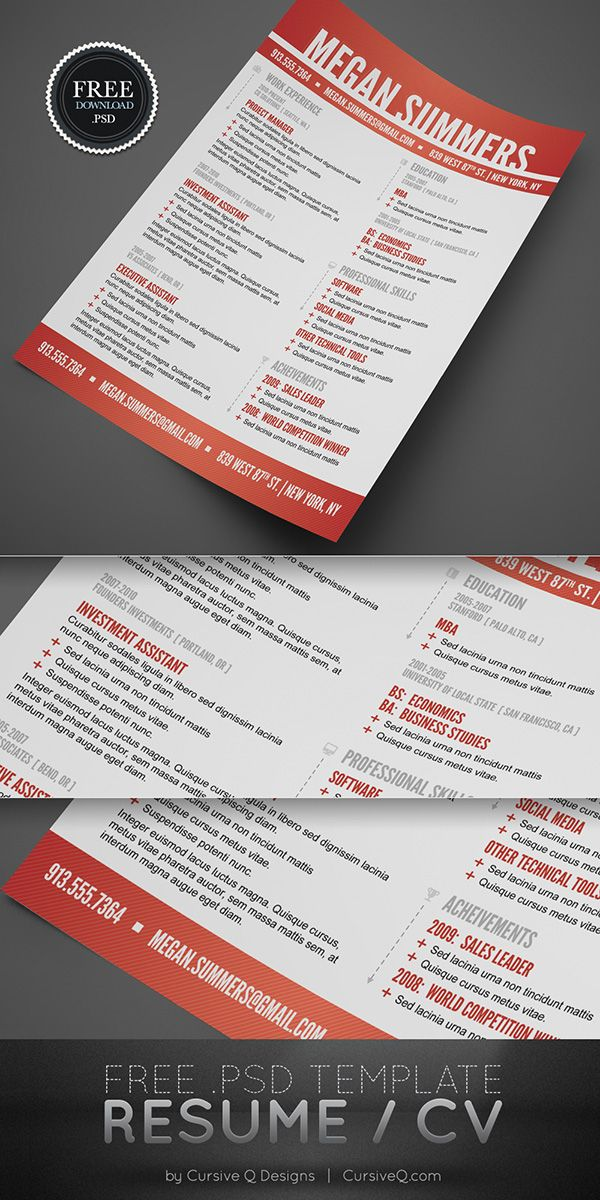Free Resume Template and CV Template (PSD) Professional - free resume design templates