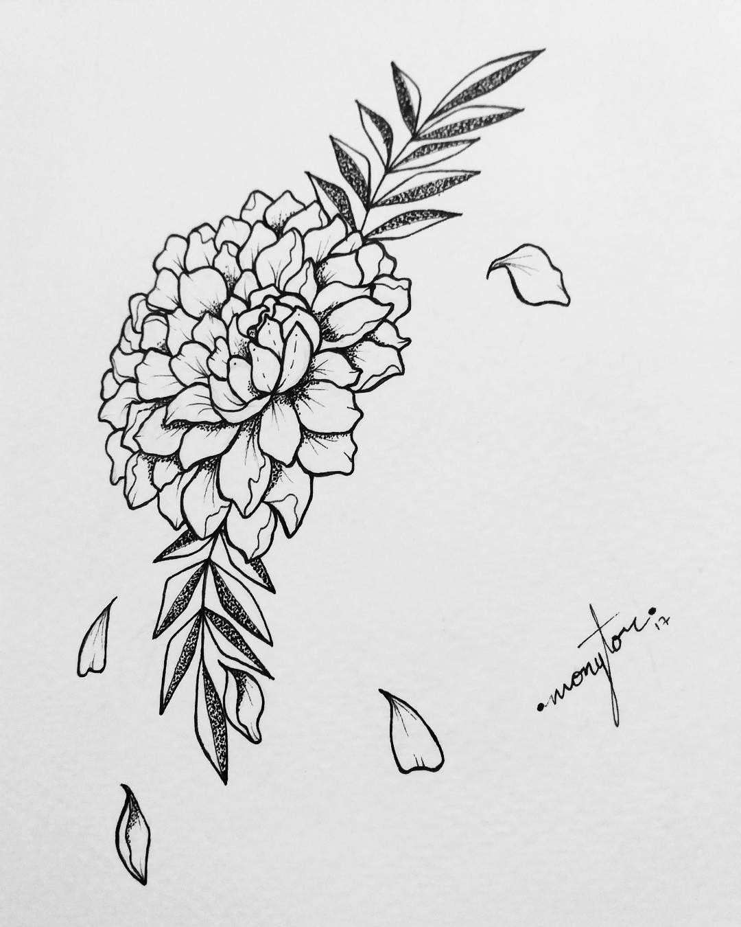 Monytor Ink En Instagram Tinta Ilustracion Illustration Marker Markermicron Micron Microna Flor Cempasuchil Calaveras Flores Tatuajes Florales