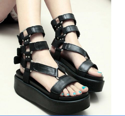 Womens Platform Creeper Buckle Roma Leopard Punk Riding New Summer Sandals  Shoes | Platform creepers, Summer sandals and Creepers