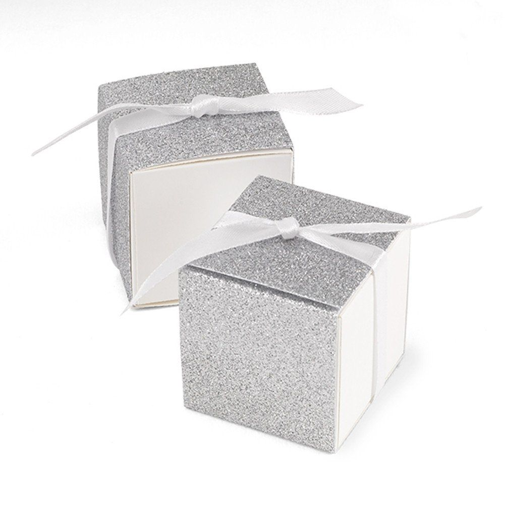 Glitter Wrap Favor Boxes - Silver - 2in. X 2in. X 2in